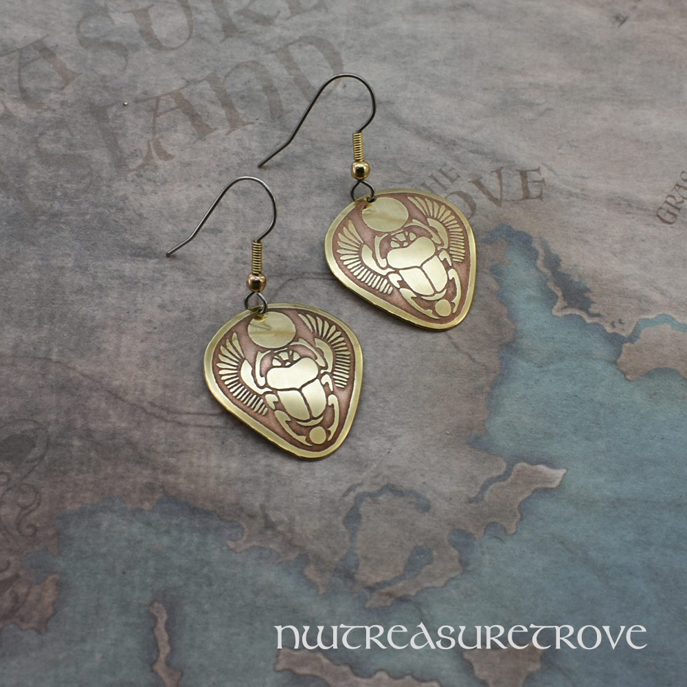 Egyptian Scarab Brass Earrings BE-11