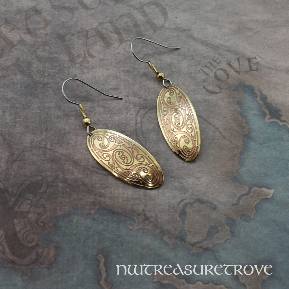 Celtic Triskele Brass Earrings BE-54