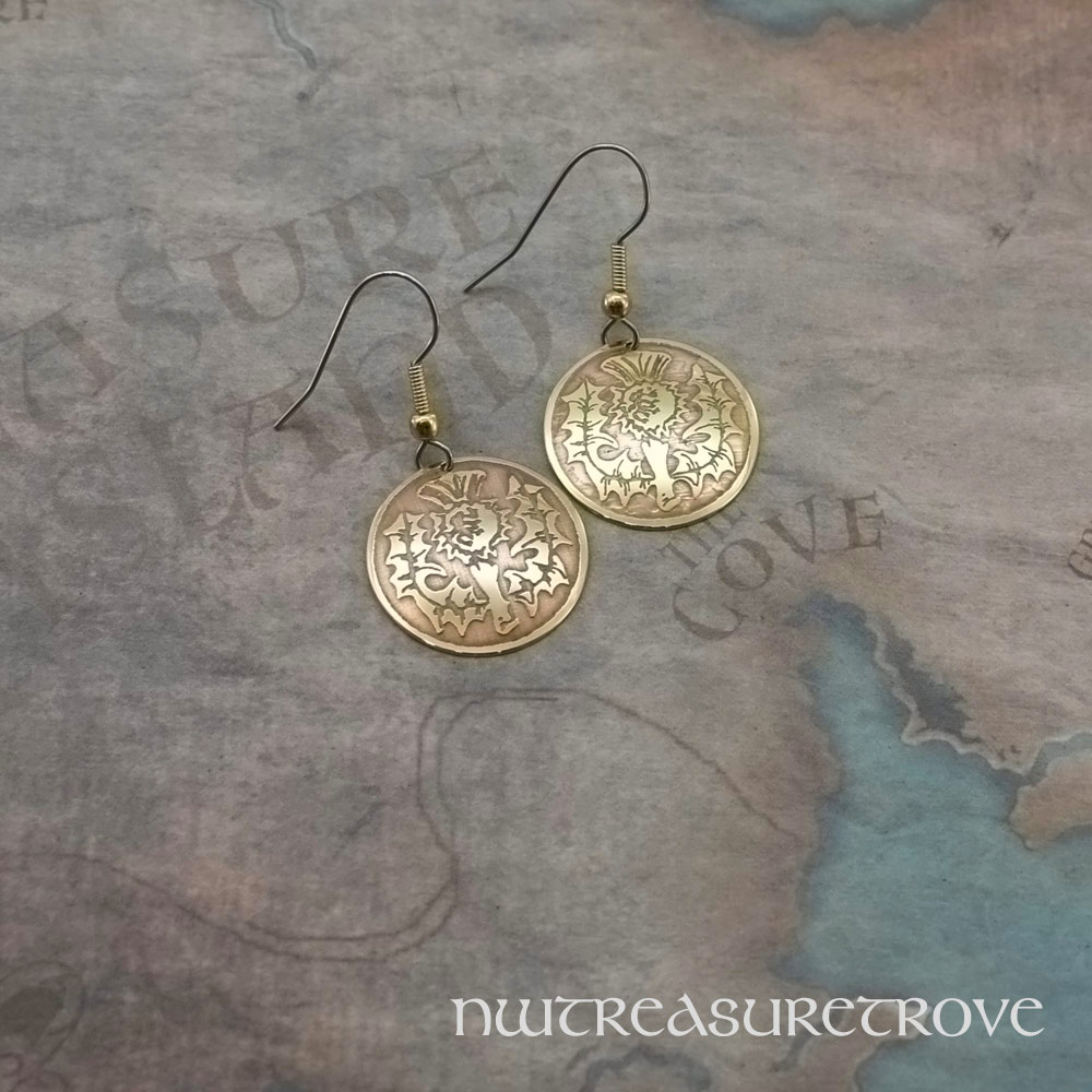 Scottish Thistle Brass Earrings BE-9