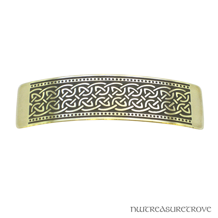 Celtic Wide Knot Brass Large Barrette BHC-29