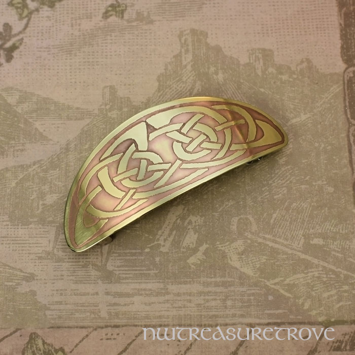 Celtic Knot Brass Large Barrette BHC-41