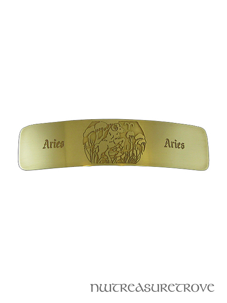 Zodiac Sign Aries Brass Large Barrette BHC-65