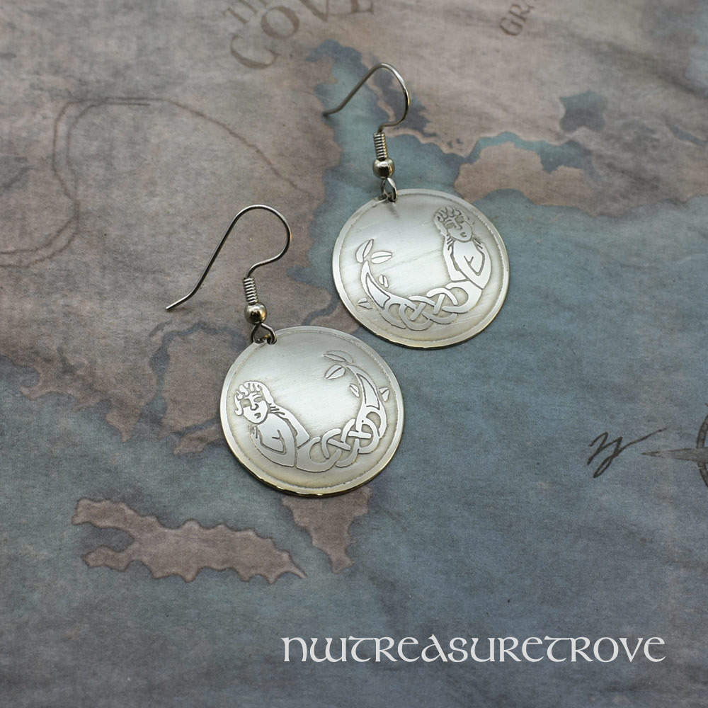 Celtic Mermaid Earrings Nickel Silver NE-18