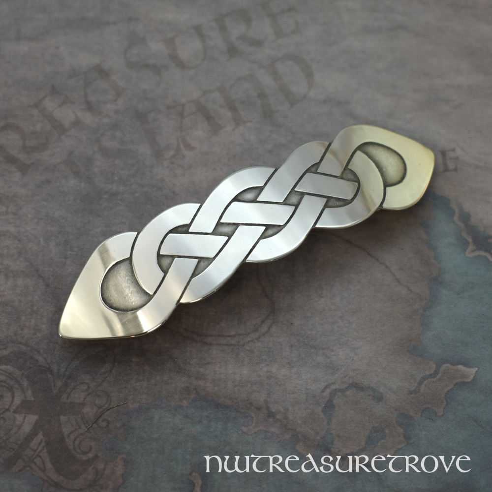 Celtic Knot Nickel Silver Large Barrette NHC-101