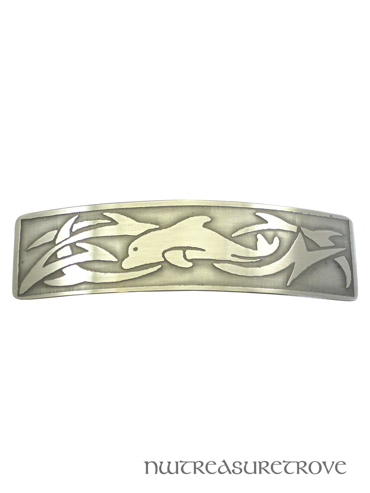 Tribal Dolphin Large Nickel Silver Barrette NHC-23