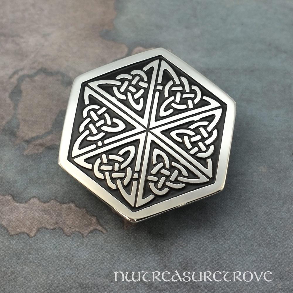Celtic Hexagon Knot Nickel Silver Hair Tie NHT-5B