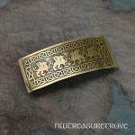 4 Celtic Gryphon's Brass Large Barrette