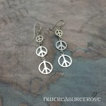 Peace Sign Earrings Sterling Silver NE-67