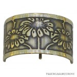 Art Nouveau Flowers Bronze Ponytail Holder BRC-8