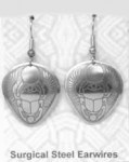 Egyptian Scarab Earrings Nickel Silver NE-11